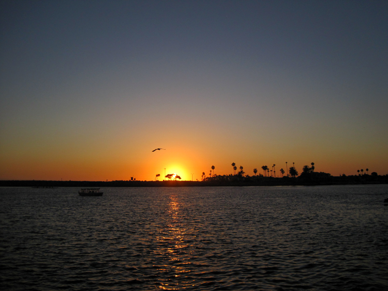 Sunset over Newport Beach California from the Corona Del Mar Beach